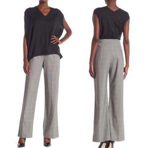 Jarbo Black Grey Plain Wool Blend Wide Leg Pants